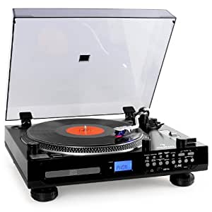 auna tt 1200 platine vinyle multimedia avec lecteur cd k7 radio fm et mp3 usb sd aux. Black Bedroom Furniture Sets. Home Design Ideas