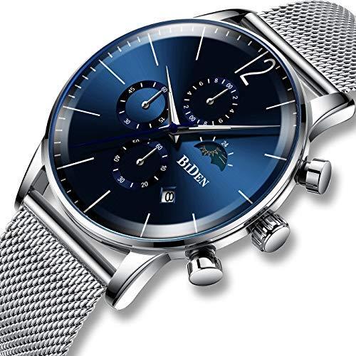orologi uomini orologi di lusso Cronografo Impermeabile Maglia al quarzo analogico quadrante blu orologi di business Data Calendario Moonphase di moda sport Designer Per Uomini