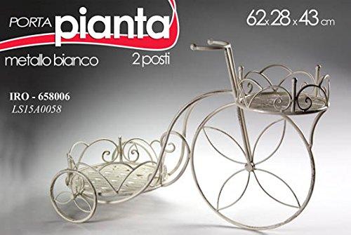 Bici portapianta bicicletta in ferro arredo giardino 62x28x43cm bianca due posti art.658006