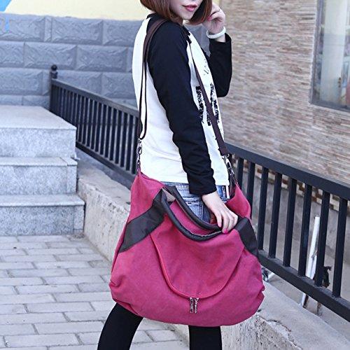 THEE Damen Retro Canvas Schultertasche Handtasche Einkaufstasche Messenger Tasche Rot