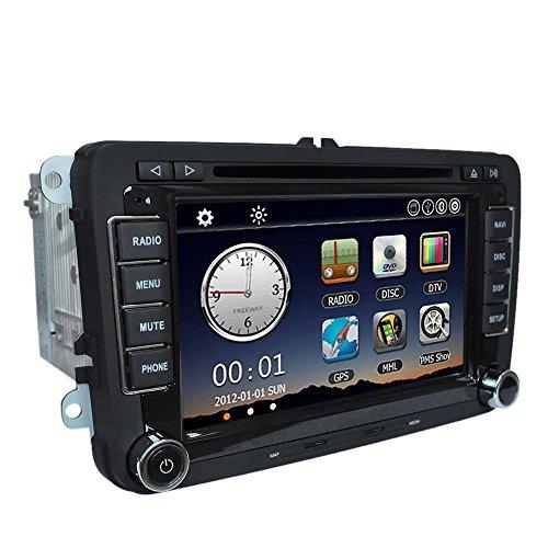 KKmoon 1080P HD DVD-Player, GPS-Navigationssystem und Bluetooth-Autoradio, 2DIN-Einheit für VW Volkswagen, für Armaturenbrett im Fahrzeug, Stereo, 17,8cm, einschließlich Karten zur Navigation (Hd-dvd-autoradio)
