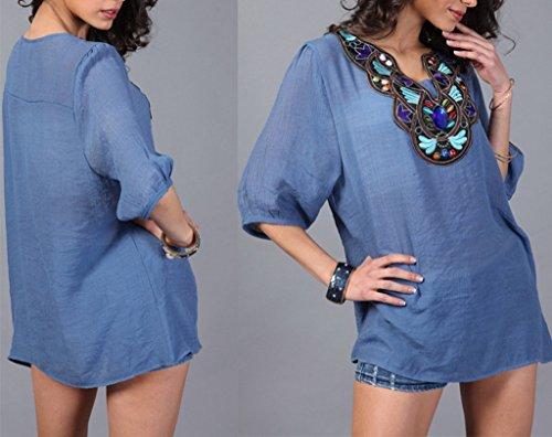 Bigood Chemise Femme Chic Blouse Eté Chemisier Grande Taille T-shirt Tops Haut Broderie Casual Jean Bleu