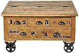 SIT-Möbel 1994-02 Truhe rustic mango-antikfinish mit gewollten Gebrauchsspuren, 90 x 90 x 47 cm, 5 Schübe, 4 Rollen, 1 Klappe