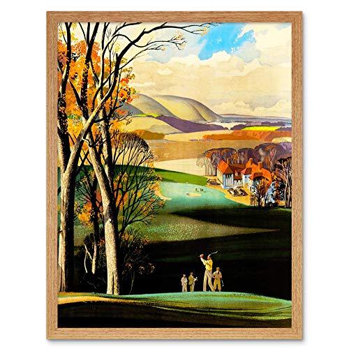 Wee Blue Coo LTD Painting Landscape Sport Golf Course Drive Green Clubhouse UK Art Print Framed Poster Wall Decor Kunstdruck Poster Wand-Dekor-12X16 Zoll -