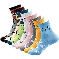 DAYPICKER 8PCS calcetines de algodón corte animal térmicos, Calcetines divertidos del gato Divertido cómodo algodón informal Novedad