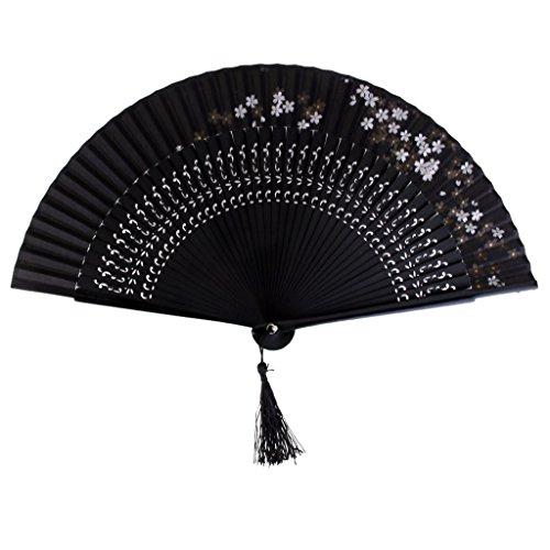 Jahrgang Seide Sakura Bambushandventilator Japanischer Fan Tasche Fan Aushöhlen Schwarz - schwarz, medium (Japanische Fans)