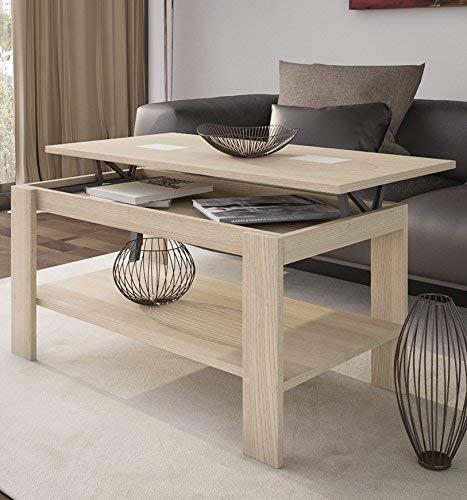 HOGAR24 Table basse relevable en chêne et verre contrastés Blanc