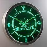 nc0039-g Marijuana Hemp Leaf High Life Bar Neon Sign LED Wall Clock Uhr Leuchtuhr/ Leuchtende Wanduhr