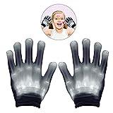 WISHBB Guantes LED, Guantes Leds Colores Juguetes para niños de 3-7 años- Regalos para Niños Regalos de cumpleaños para niñas de 4 a 12 años(Blanco)