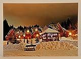 LED Wandbild Winterdorf beleuchtet 50cm x 70cm Leinwand Bild Winter Dorf Motive