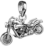Silberner Motorrad Big Bike Anhänger für Ketten von Kuzzoi aus massivem 925er Sterling Silber für...