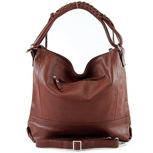 modamoda de - ital. Ledertasche Damentasche Handtasche Schultertasche Nappaleder W35 Braun