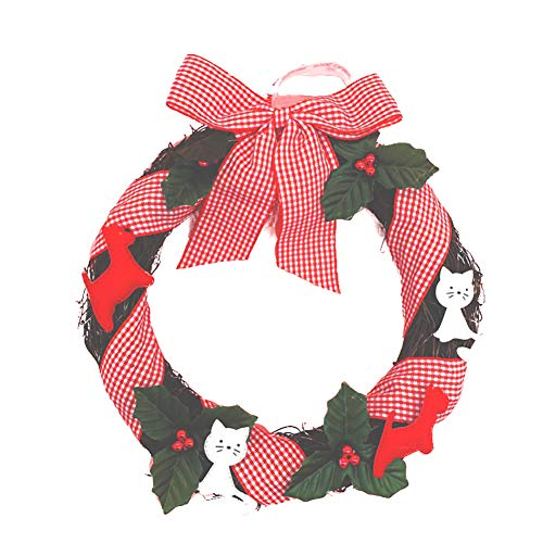 Kreative Weihnachtskranz Nette Karikatur-Katze-Kranz Künstliche Rattan, Shop Mall oder Home Decoration Supplies (Design Tür Kranz Katze)