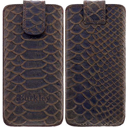 Burkley Lederhülle geeignet für Apple iPhone SE/iPhone 5S Handyhülle Handytasche - Schutzhülle mit Easy-Out für das iPhone SE / 5S - Handmade (Croco Look) (Ip5 Wallet)