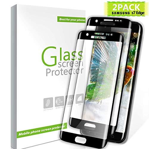 Youer Galaxy S7 Edge Panzerglas Schutzfolie, [2 stück] Premium Gehärtetem Glas Displayschutzfolie für Samsung Galaxy S7 Edge, 9H Härte, Anti-Kratzer, Ultra-klar, Blasenfreie - Schwarz