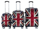 Valigia Trolley, Set Set 3 pezzi, Custodia rigida, 3 Carrelli, 4 Rotoli, XL-luce, Union Jack - Multicolore, Set