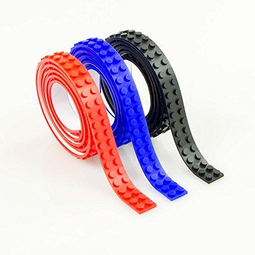 Preisvergleich Produktbild Skaize Spielstein Baustein Klebeband selbstklebend, flexibel - 3m Schwarz, Rot, Blau