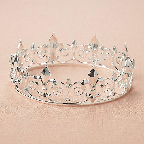 SWEETV Medieval Imperial Cristal Corona del Rey Tiara de los Hombre para la Celebración, Plata