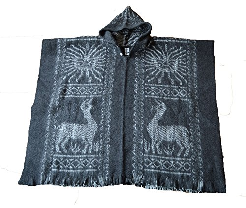 South American 100% Wolle Hand Made Poncho Inca Sun