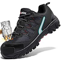 ASHION Mens Steel Toe Safety Trainers,Breathable Lightweight Reflective Work Shoes Industrial & Construction Trainers, 8 UK, A Black