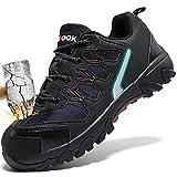 ashion Stahlkappe Sicherheitsschuhe Herren, Industrie Handwerk Schuhe Atmungsaktiv Leichte Reflektierende Arbeitsschuhe(A-Schwarz,40 EU)
