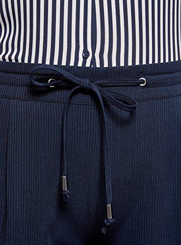 oodji Ultra Donna Pantaloni con Elastico in Vita e Laccetti Blu (7910S)