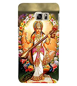 ColourCraft Maa Saraswati Design Back Case Cover for SAMSUNG GALAXY S6 EDGE PLUS