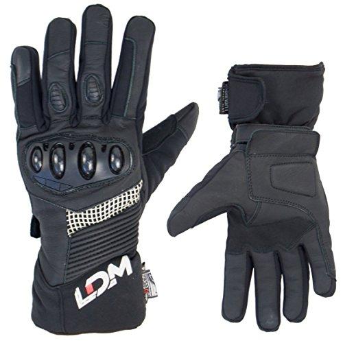 Ldm exotec, guanti da moto impermeabili, antivento, corazzati, neri