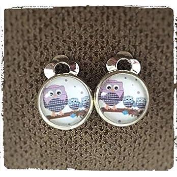 Ohrclips Eulen Glas-Cabochon 10mm Motiv Kinder Ohrringe Mädchen Eulen-Familie versilbert Eule handmade Schmuckphantasien…