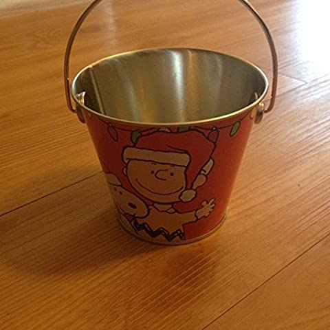 Peanuts Chalrlie Brown & Snoopy Mini Christmas Tin Bucket - Red by (Tin Bucket)