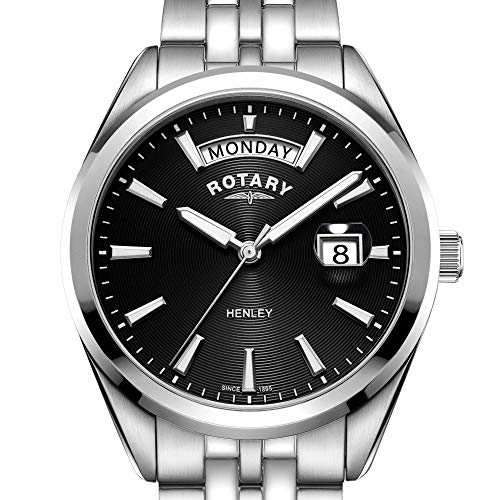 Rotary Henley Black Dial Silver Stainless Steel Mens Watch GB05290/04 40mm