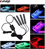 #5: Casago Car LED RGB Interior Atmosphere Floor Underdash Lighting & Strip Waterproof Glow Neon 9 LED x 4 Strips Decoration Lamp with Sound Active Function and Wireless Remote Control and Car Charger