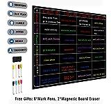 Magnetisches Whiteboard Kühlschrankkalender Whiteboard für Kühlschrank Home Office - Familien-Organizer, Mahlzeitenplaner, Memo-Board, Einkaufsliste - Pinnwand beinhaltet 8 Marker Stifte Schwarz