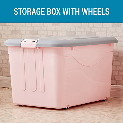 TIED RIBBONS Plastic Multipurpose Storage Container with Closing Lid, Wheels and Side Locking Handles for Box Organizer, Full(Multicolour)