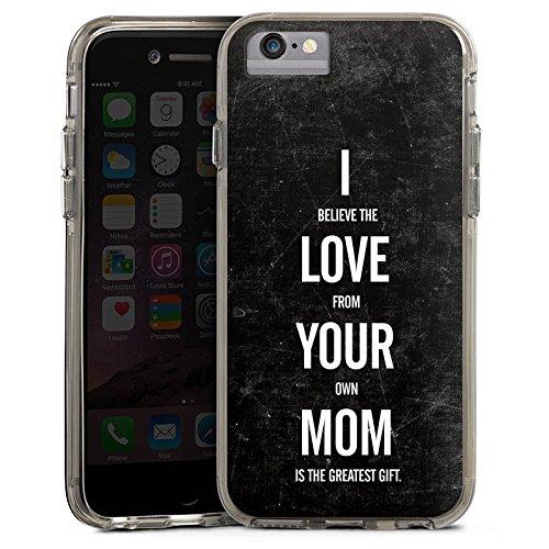 Apple iPhone 6 Bumper Hülle Bumper Case Glitzer Hülle Mama Humor Amour Bumper Case transparent grau