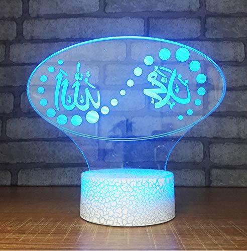 Lampe-Optische Täuschungs-Islam-Nachtlichter 3D Usb-Visueller Geführter Berührungsknopf Bunte Gott Allah Segnen Koran-Araber-Kindergeschenk-Tischlampe-Beleuchtungsbefestigungen