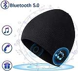 COTOP Berretto Musicale Bluetooth Cappello Lavorato a Maglia Bluetooth 5.0 Berretto Cappello Uomo Donna Invernali con Cuffie Stereo e Microfono Vivavoce (Nero)