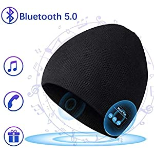 COTOP Berretto Musicale Bluetooth Cappello Lavorato a Maglia Bluetooth 5.0 Berretto Cappello Uomo Donna Invernali con Cuffie Stereo e Microfono Vivavoce (Nero) 7 spesavip