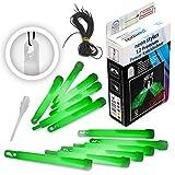 12 Premium Power-Knicklichter KNIXS - Grün - inkl. Spezialhaken und Befestigungsband, robust, dick, intensiv & lange leuchtend
