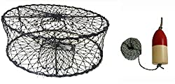"Kufa Ct50 Sports Foldable Crab Trap With 14"" Bullet Redwhite Floats"