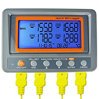AZ Instruments 4 Channel K Type Thermometer SD Card Data Logger Thermocouple Temperature by AZ Instruments