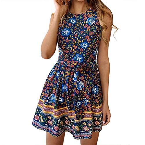❤HappyQn❤ Sommerkleid Damen Boho O-Ausschnitt Vintage A-Linie Minikleid Swing Strandkleid mit Gürtel -