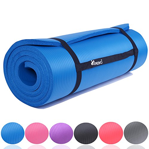 TRESKO Fitnessmatte Yogamatte Pilatesmatte Gymnastikmatte 6 Farben/Maße 185cm x 60cm in 2 Stärken/Phthalates-getestet/NBR Schaumstoff/hautfreundlich, kälteisolierend (Blau, 185 x 60 x 1.5 cm) (Yoga-matte, Dicke 2 Cm)