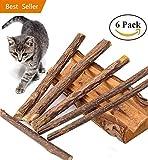 Bastoncini Matatabi, 6 Stick Dentali Per Gatti, Matatabi Stick, In legno di Matatabi per la cura dentale, aiutano giocando ad eliminare alitosi e tartaro - Giocattolo e igiene orale per gatti