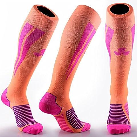 Samson® COMPRESSION DEPORTES CALCETINES PARA EL FÚTBOL RUGBY FITNESS RUNNING DEPORTE gimnasio hombres mujeres Unisex, hombre mujer Infantil, Orange Pink,