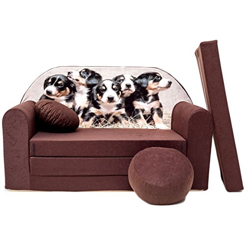 Kindersofa Bettfunktion 3in1 Sofa Kindersessel Ausziehbett Bett (K7+ braun Hunde)