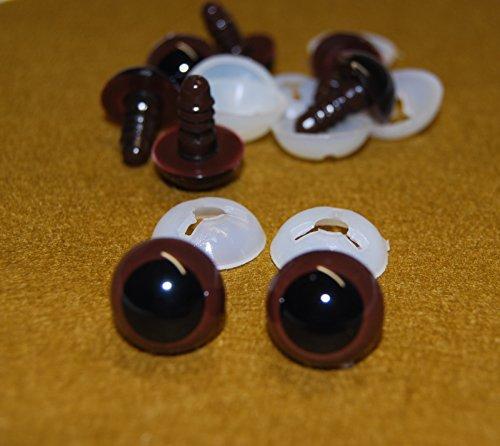 21 Augen (Braune Augen mit Sperrscheibe aus Kunststoff, 21 mm Sicherheitsaugen für Herstellung von Plüschtieren und Teddybären, 4Paar-Packung)