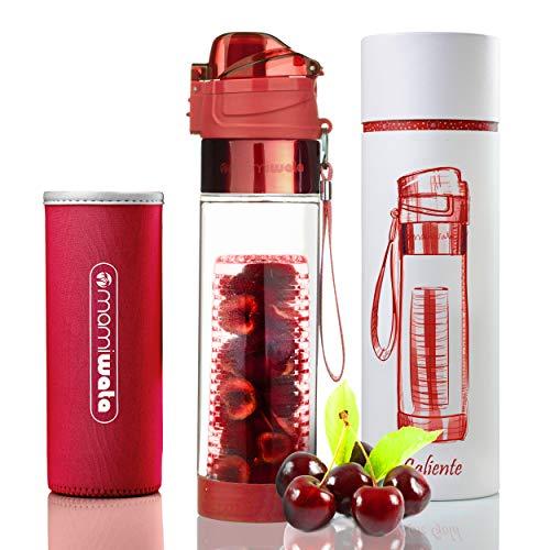 asser Flasche-Schöne Geschenk-Box-Einzigartiges Design-Frei Fruit infundiert Wasser Rezepte eBook und isolierender Sleeve-Maurerhammer, Caliente ()