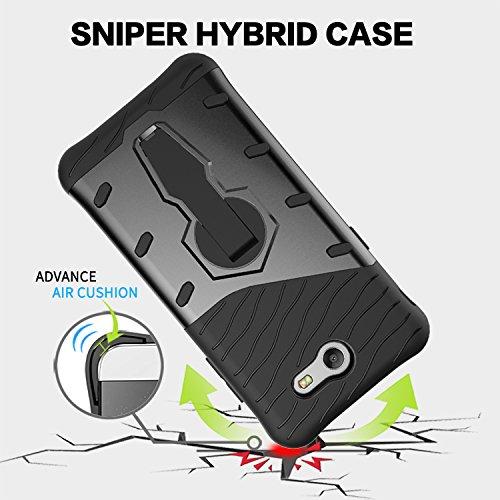 YHUISEN Galaxy J3 2017 Case, Hybrid Tough Rugged Dual Layer Rüstung Schild Schützende Shockproof mit 360 Grad Einstellung Kickstand Case Cover für Samsung Galaxy J3 2017 J320 ( Color : Gold ) Silver
