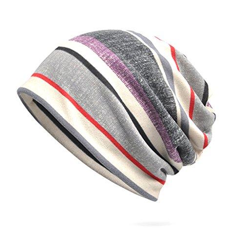 CADANIA Women Baggy Slouchy Beanie Chemo Hat Scarf Women's Month Pregnant Warm Hat Gray Stripes